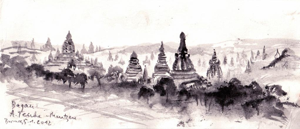 Bagan, Tuschezeichnung (0,11 x 0,27 m) 2012