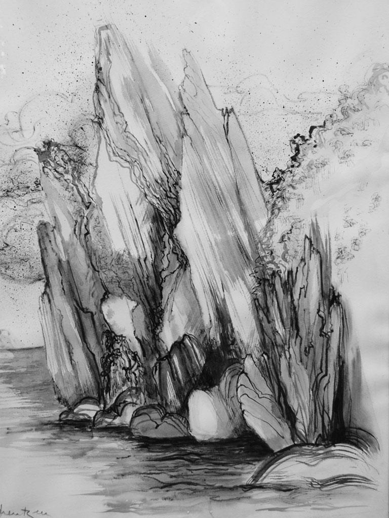 Felsen, Tuschezeichnung (0,9 x 0,6 m) 1996