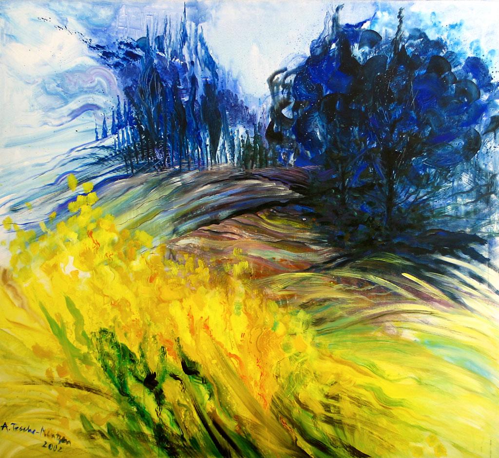 Ginster in der Toskana, Acryl (2,1 x 2,3 m) 2002