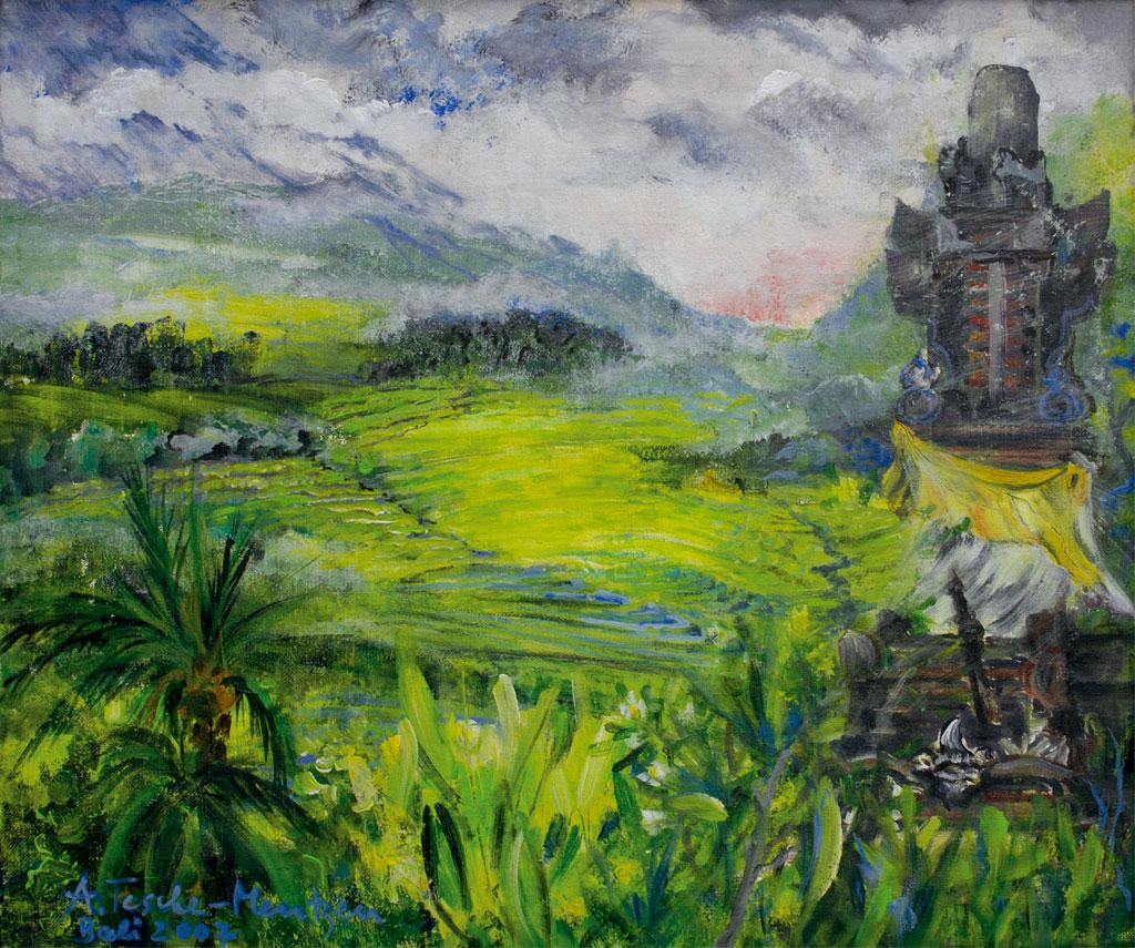 Haustempel Bali, Acryl (0,5 x 0,6 m) 2007