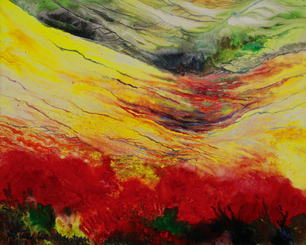 Mohnfeld Toskana, Acryl (0,8 x 1 m) 2007