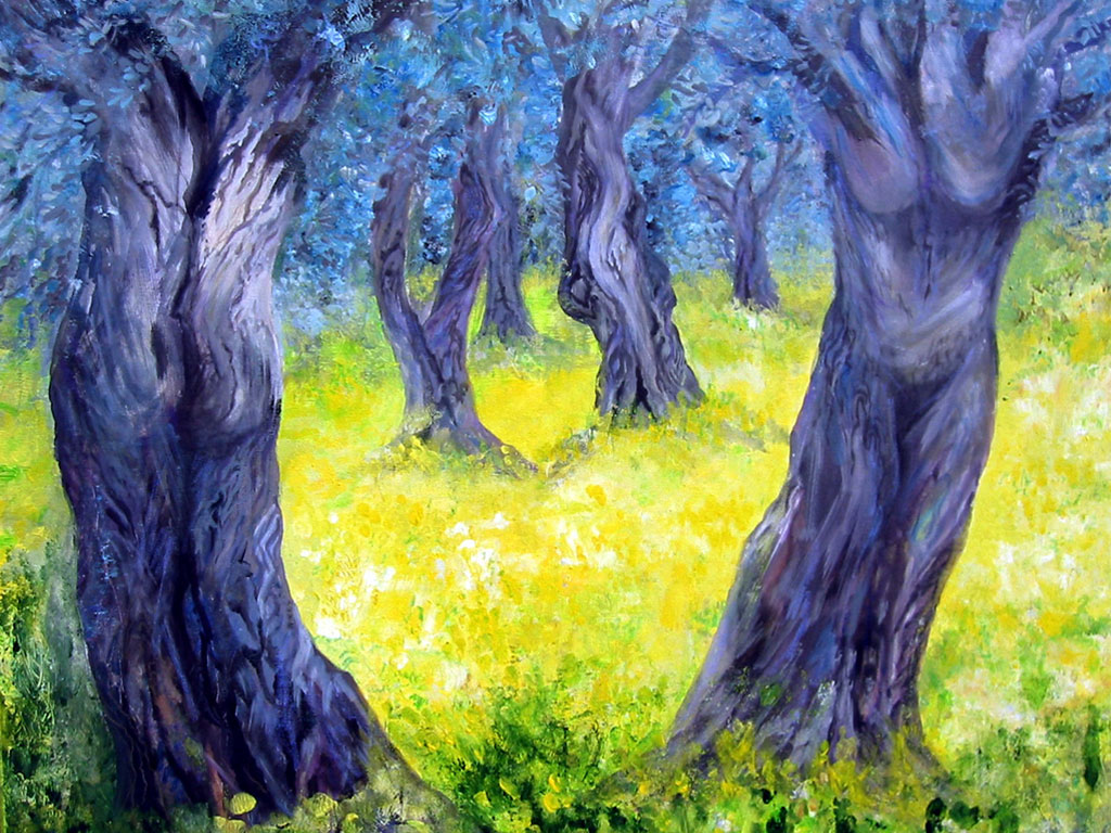 Olivenbäume, Acryl, (0,8 x 1 m) 2004