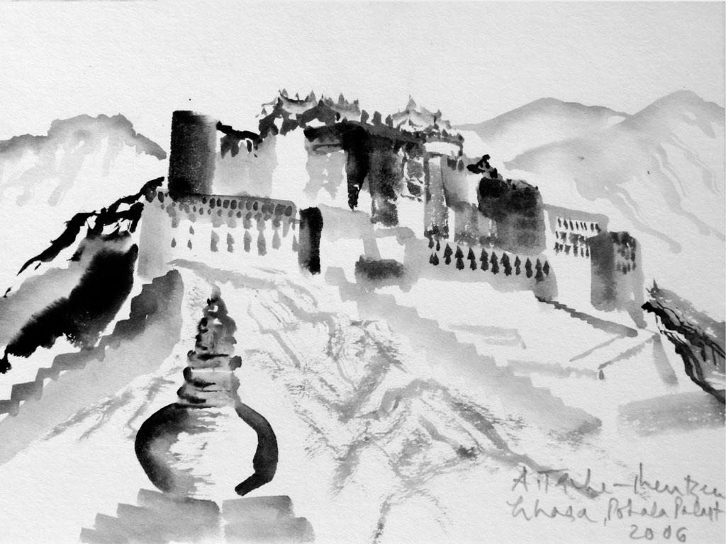 Tibet, Tuschezeichnung (0,12 x 0,17 m) 2006