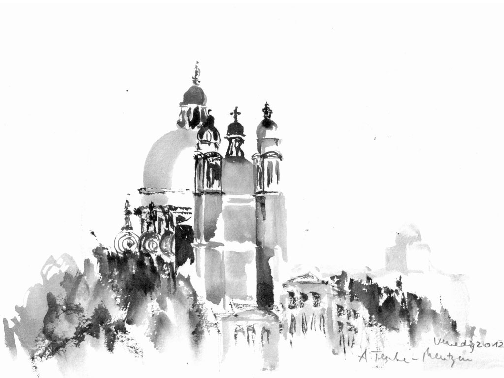 Venedig - Salute, Tuschezeichnung (0,17 x 0,24 m) 2012
