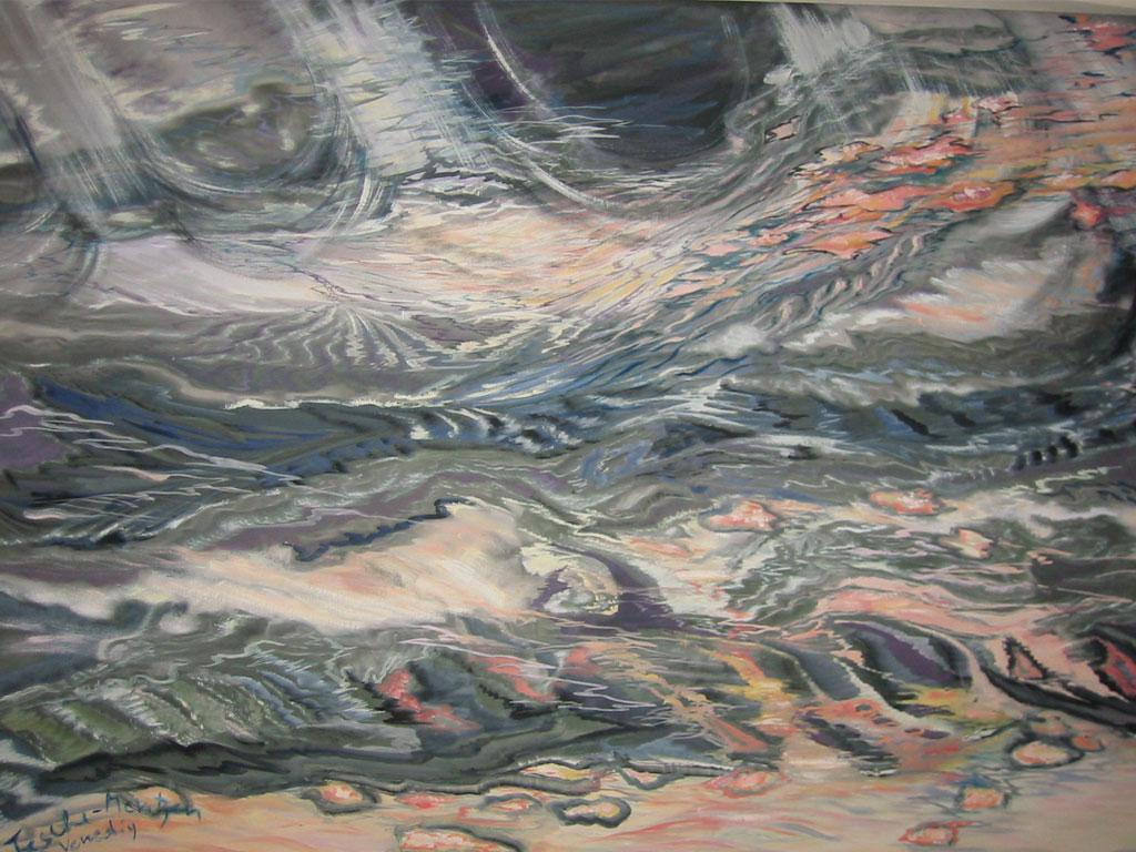 Wasserspiegelungen, Acryl (1,2 x 1,4 m) 2009