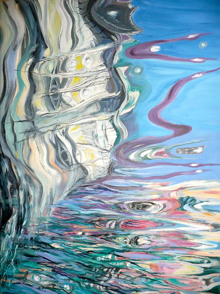 Wasserspiegelungen, Acryl (0,7 x 0,5 m) 2009