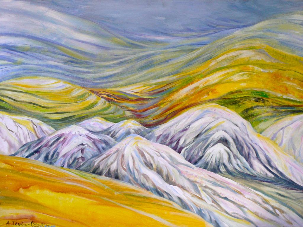 Antje Tesche-Mentzen, Acryl, Landschaftsmalerei, Malerei, Toscana, Crete