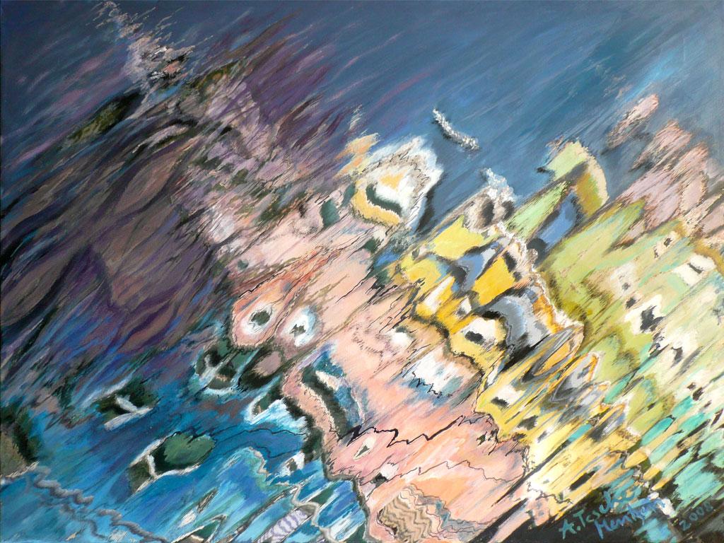 Antje Tesche-Mentzen, Malerei, Wasserspiegelung, Acryl